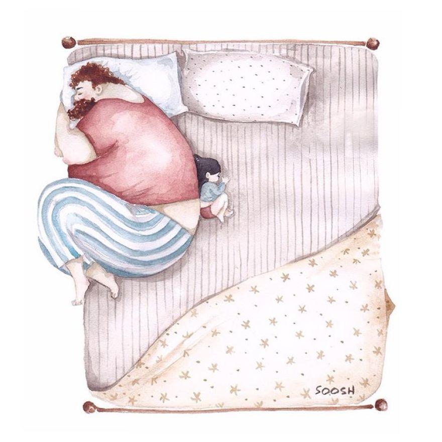Baba kızıyla birlikte uyuyor