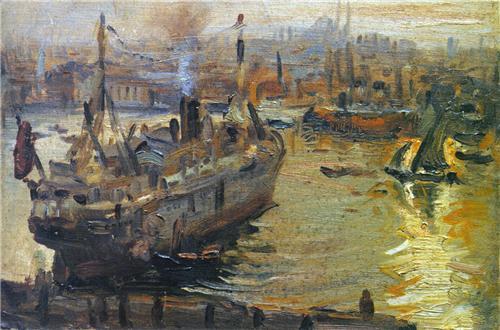 Feyhaman Duran, İstanbul Limanı,31x43.5cm,Tuv.Üz.Yğb