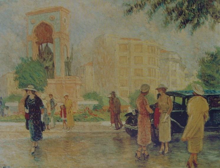 Nazmi Ziya,Taksim Meydanı,1935, 73x93cm, Tuv.Üz.Yğb