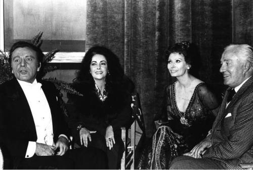 Richard Burton, Elizabeth Taylor, Sophia Loren and Vittorio de Sica