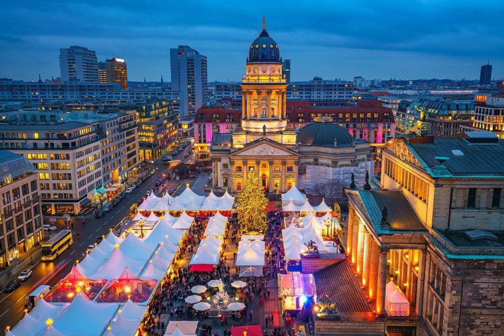 Christmas market, Deutscher Dom and konzerthaus in Berlin, Germa