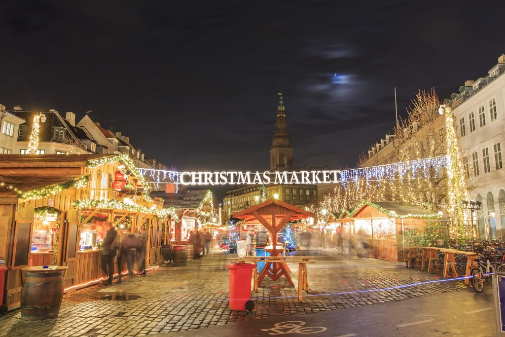 Christmas Market Near Stork Fountain Of Copenhagen